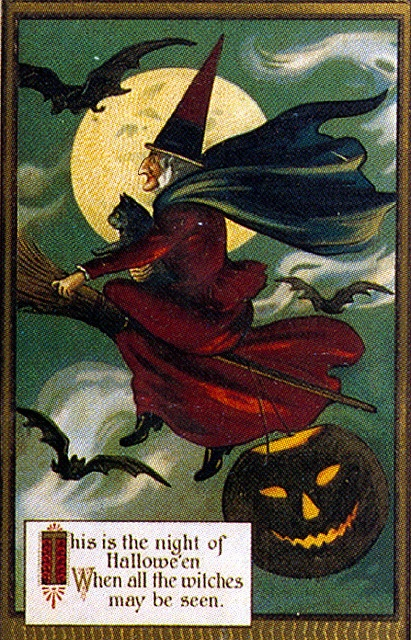 Vintage Halloween Postcard- large: