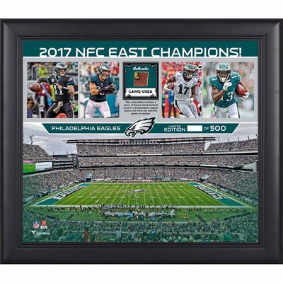 "Philadelphia Eagles Fanatics Authentic Framed 15"" x 17"" 2017 NFC East Champions Collage with a Piece of Game-Used Football - Limited Edition of 500"