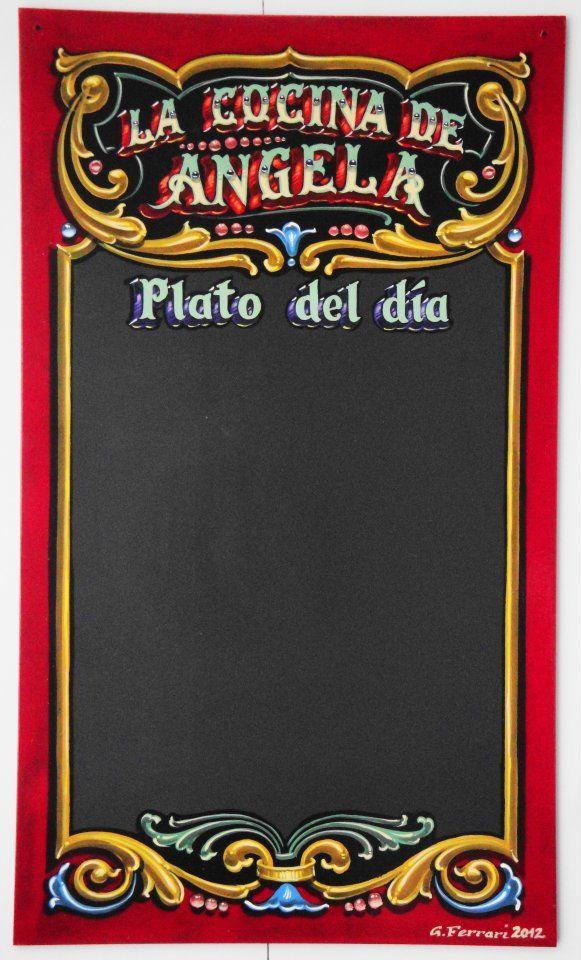 Cocina Plato del día Gustavo Ferrari cartel fileteado