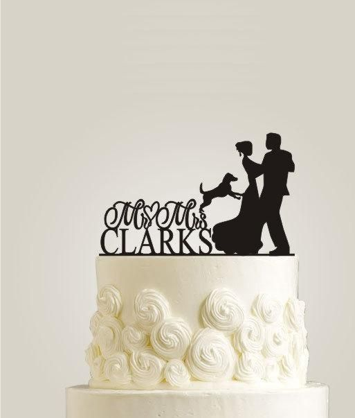 Custom Wedding Cake Topper | Bride and Groom Wedding Silhouette Couple Cake Topper with Dog Wedding Cake Toppers | Dog Cake Topper - http://wedding-cake-topper.com/custom-wedding-cake-topper-bride-and-groom-wedding-silhouette-couple-cake-topper-with-dog-wedding-cake-toppers-dog-cake-topper/