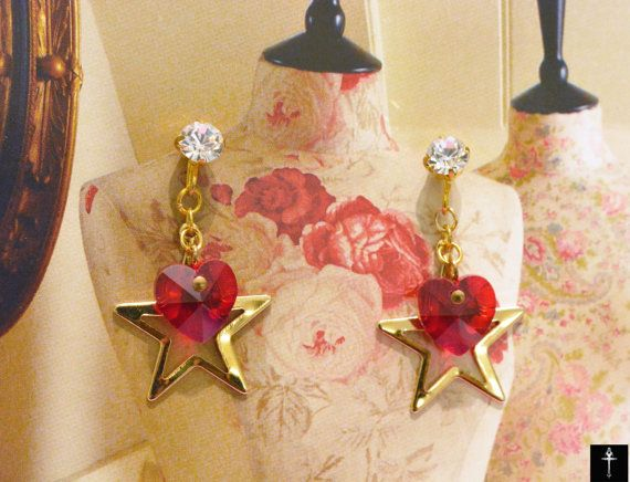 Hearts Errings Gold Plated with Red color Swarovski by BYTWINS