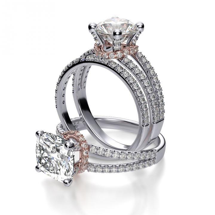 Under Halo Pave Split Shank Diamond Engagement Ring