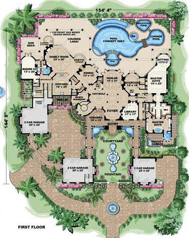 first floor plan of florida mediterranean house plan 60489 - Luxury Floor Plans
