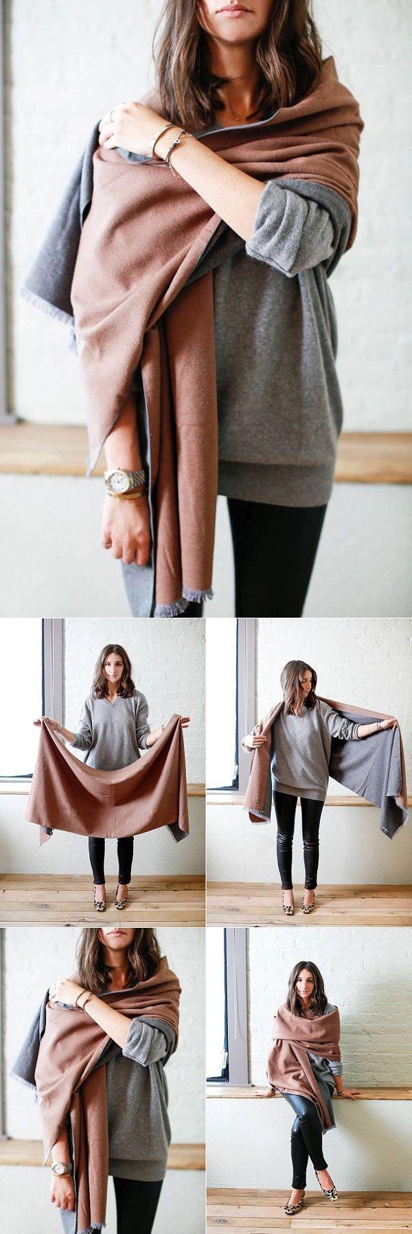 13 ways to wear a blanket scarf Más ancha que una bufanda y más chica que una cobija.