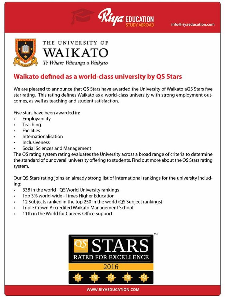 Study at The University of Waikato in New Zealand. Waikato defined as a world class university by QS Stars. For more details on study abroad programs get in touch with Riya Education. Visit our website.