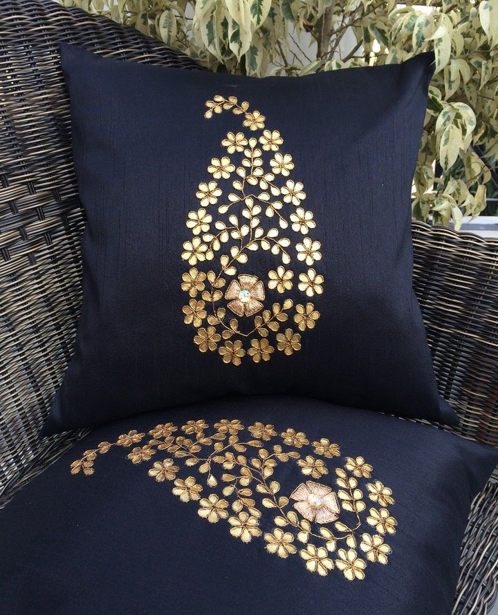 Golden Leaf (Gotta Pati) Hand Embroidery Black Cushion Covers