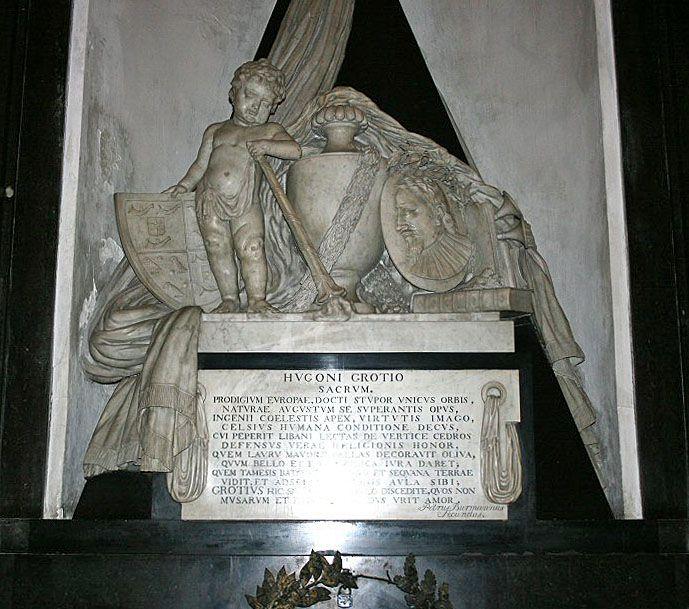 Das Grabmonument des Hugo Grotius (Hugo de Groot, 1583-1645) in der Nieuwe Kerk in Delft. www.claudoscope.eu