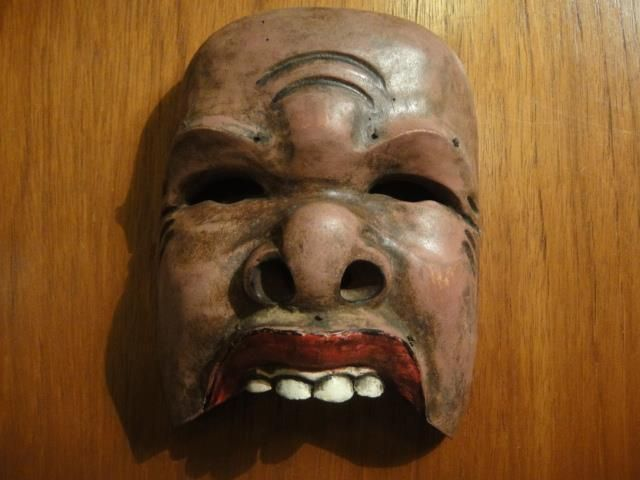 Antique TOPENG dance mask Java Indonesia half Tribal carved wood 16cm commedia
