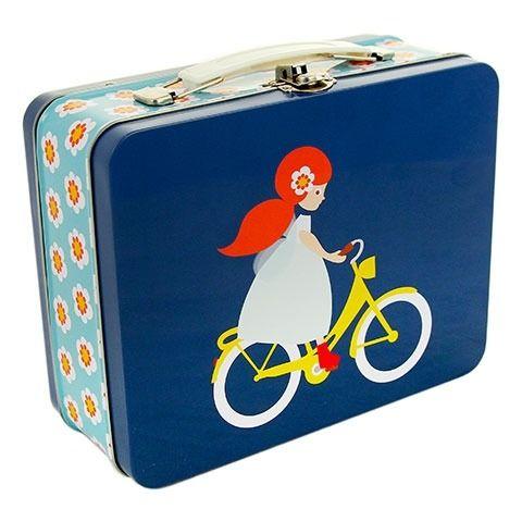 Väska/matbox flicka på cykel, Blafre Eco