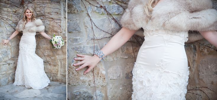 Ancaster Mill bride against stone wall