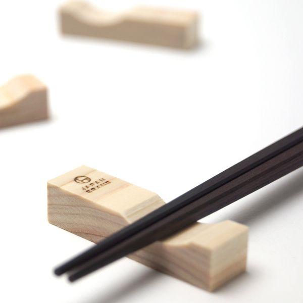 wooden  a chopstick rest designed by Yuko Noguchi