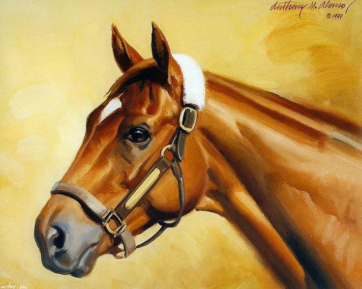 Скачать обои животные, рыжая лошадь, жеребец, Изи Гоуep, Easy Goer, Anthony M.Alonso 1280x1024