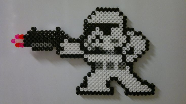 Star Wars - Imperial Stormtrooper (Mega Man style) perler beads by Björn Börjesson