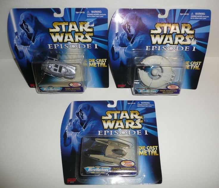Lot of 3 Star Wars Episode 1 Die Cast Metal SHIPS - Micro Machines 1998 Figures #Galoob