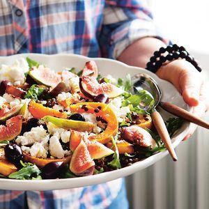 Puy-Linsen-Salat mit Kürbis, Ziegenkäse und Feigen