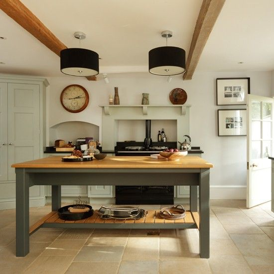 Pale blue and wood country kitchen kitchen decorating for Country kitchen ideas uk