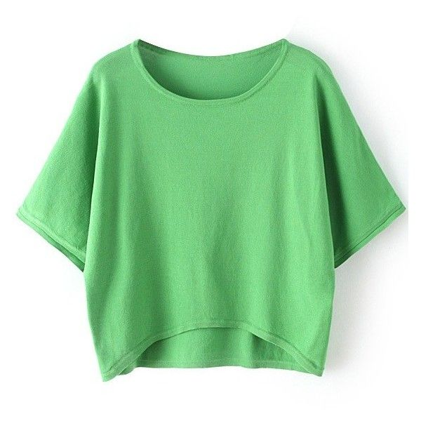 LUCLUC High Low Green Batwing Sleeve Knit T-shirt ($19) ❤ liked on Polyvore featuring tops, t-shirts, crop tops, knit tee, crop top, green tee, knit tops and green t shirt