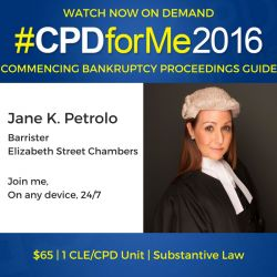 #auslaw $65 @CPDforMe 10 Steps to Commencing Bankruptcy Proceedings http://bit.ly/CPDBankruptcy Jane Petrolo, Barrister