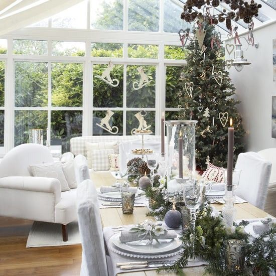 White Christmas / Conservatory dining area with New Year decorations | Housetohome.co.uk