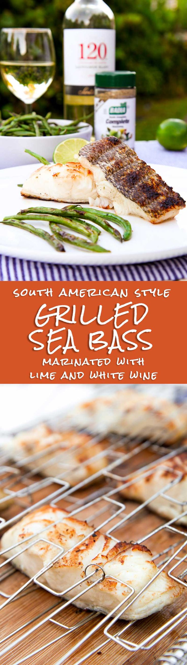 GRILLED SEA BASS marinated with white wine and herbs - This Grilled Sea bass recipe perfectly combines my Italian flair with the flavors of Latin America. Italians love to marinate protein with wine and Chilean sea bass is great with this tasty technique.
