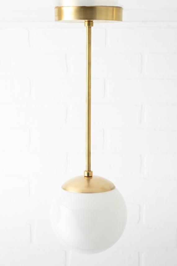 Mid Century Modern Neckless Globe Light Pendant Light