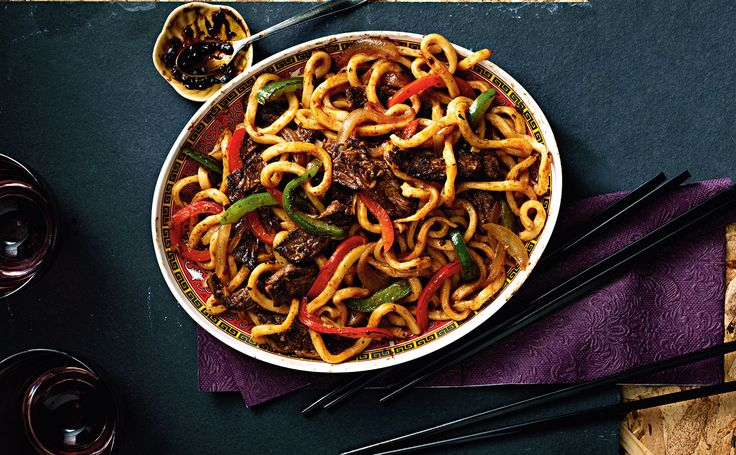 Beef and Pepper Black Bean Udon Noodles