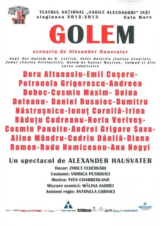 """PREMIERĂ/ Spectacolul """"Golem"""" la TNI/ 5-6 septembrie 2013"""