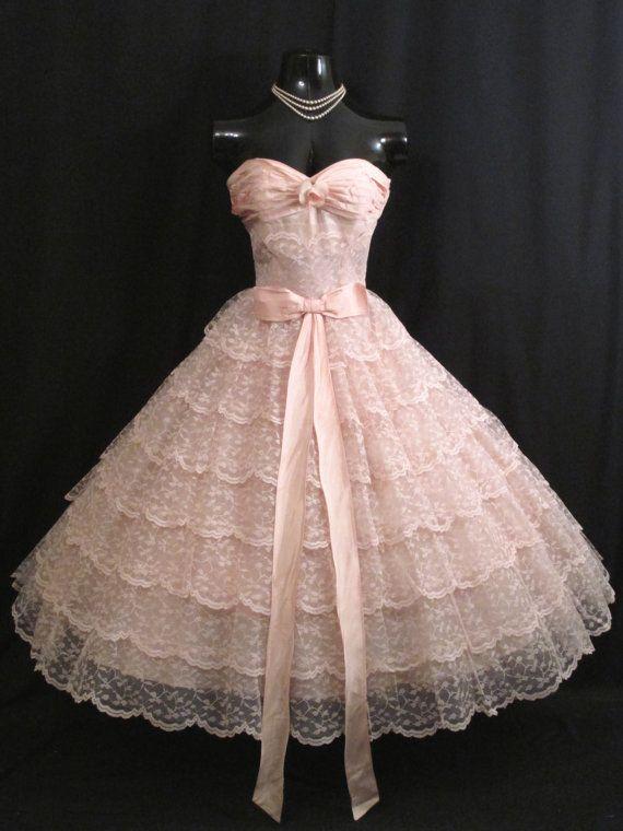 Vintage 1950's Bombshell STRAPLESS Pink by VintageVortex