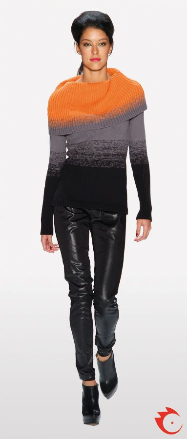 anja gockel orange grey black ombré pullover in combination with black fake leather pants