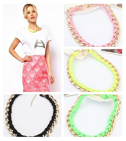 Punk Fluorescence Woven Rope + Golden Metal Chain Fluorescence Color Choker Necklace fashion necklaces for women 2015