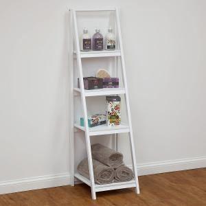 4 tier bathroom ladder shelf white decor ideas for Bathroom ladder shelf