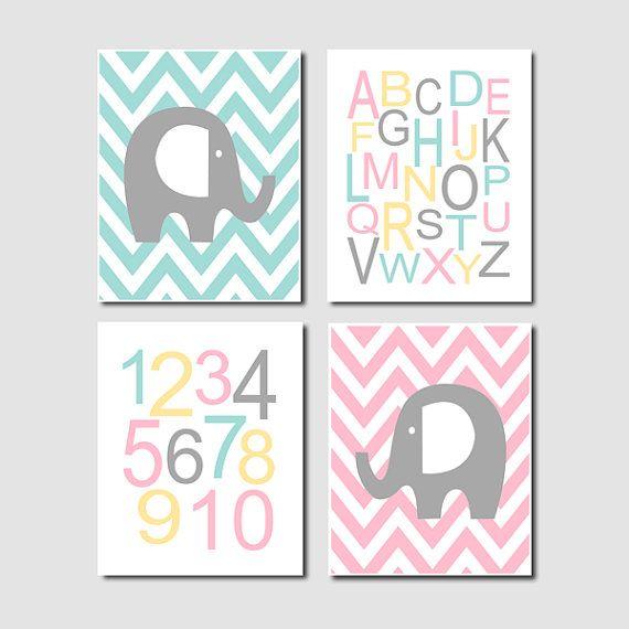 Elephant Nursery Art Chevron Alphabet Numbers Pink Gray Yellow Aqua Set of 4 Prints Baby Girl Nursery Artwork Decor Wall Art Picture Safari