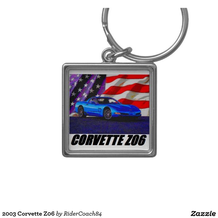 2003 Corvette Z06 Silver-Colored Square Keychain