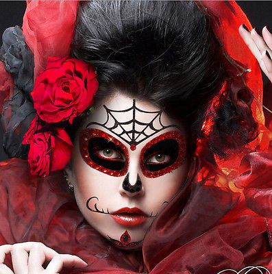 Black-Gothic-Skull-Costume-Sugar-Skull-Xotic-Eye-Wear-Rhinestone-Stage-Makeup-US