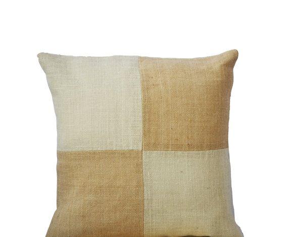 Burlap Pillow  Beige Pillow color block  Ivory Tan by AmoreBeaute