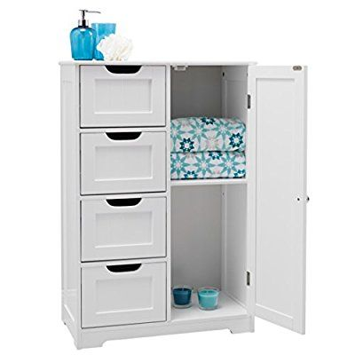 82x55x30cm White wooden bathroom cabinet by with four drawers & cupboard; suitable for bedroom, hallway, bathroom anyroom
