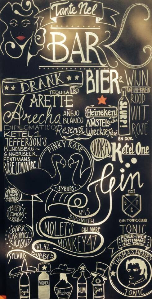 Chalkboard made by me @ Snackbar tante Nel in Rotterdam www.facebook.com/ikkrijt #Snackbar #tante Nel #KRIJT #Chalk #Rotterdam
