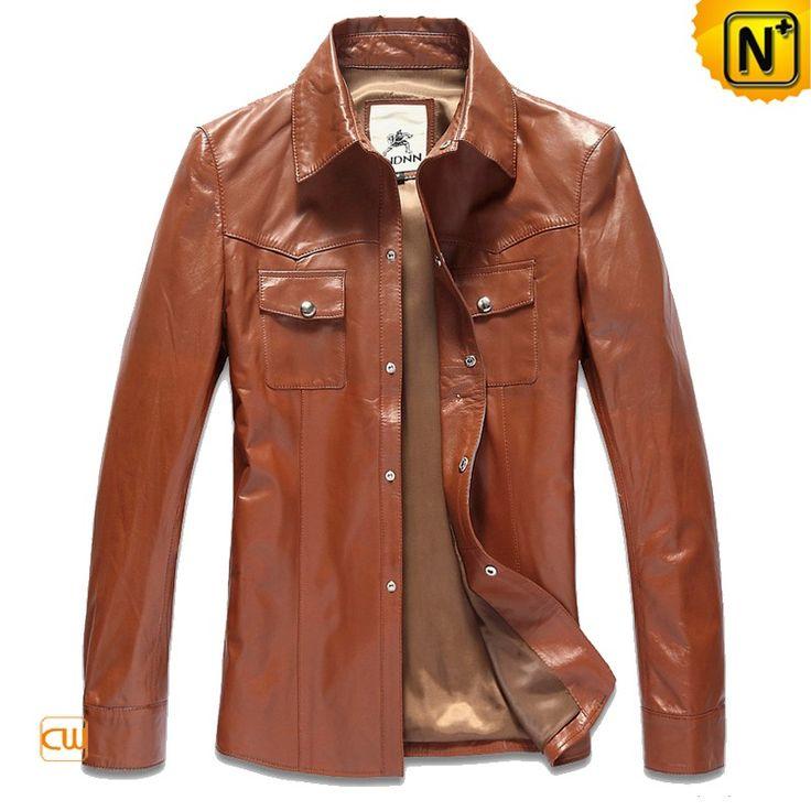 Mens Leather Shirt Brown Biker Jacket CW866104