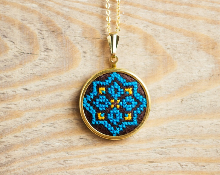 Ethnic necklace - Hand embroidered cross stitch jewelry - Aztec, Mexican embroidery - n017. $29.00, via Etsy.