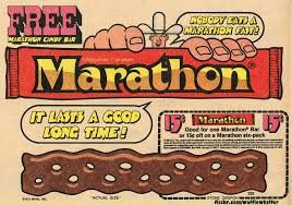 1970s Marathon Bar. I knew that I had something like this as a kid but didn't trust my memory. So great to see this actually existed! This candy bar is Alice and well in England by the way, in case you were craving one. It's called a Curly Wurly