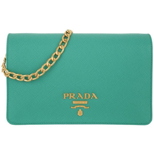 Prada Shoulder Bag - Borsa Portafoglio Saffiano Lux Giada - in green -... (1,400 CAD) ❤ liked on Polyvore featuring bags, handbags, shoulder bags, green, leather purses, green leather tote, blue leather tote bag, leather tote bags and blue leather tote