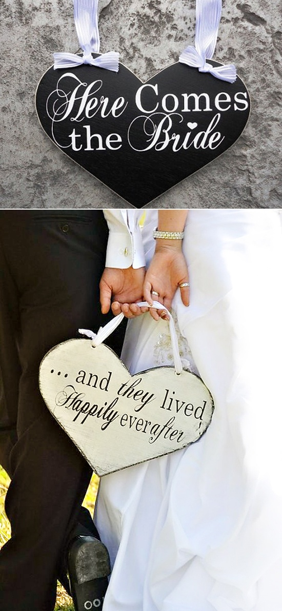 here comes the bride/ and they lived happily ever after wedding signs @Sara Nowak
