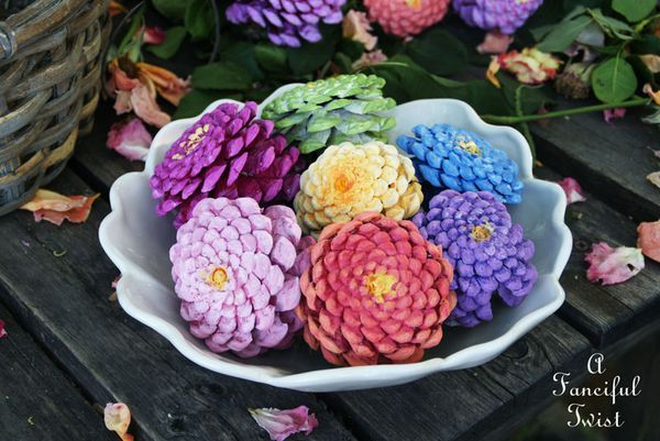 How to Make Gorgeous Zinnia Flowers from Pine Cones