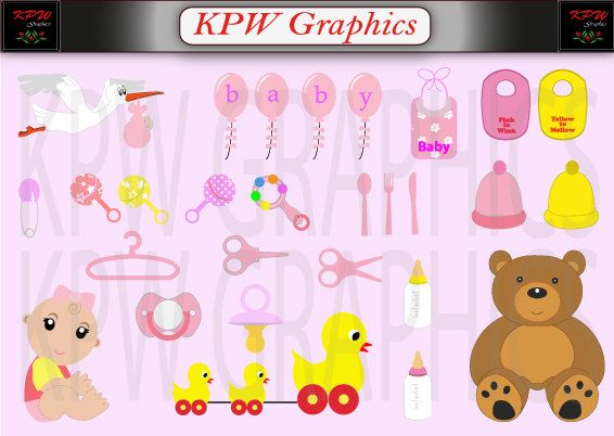 Baby and Accessories Girl Clipart Set in a PNG by KPWgraphics