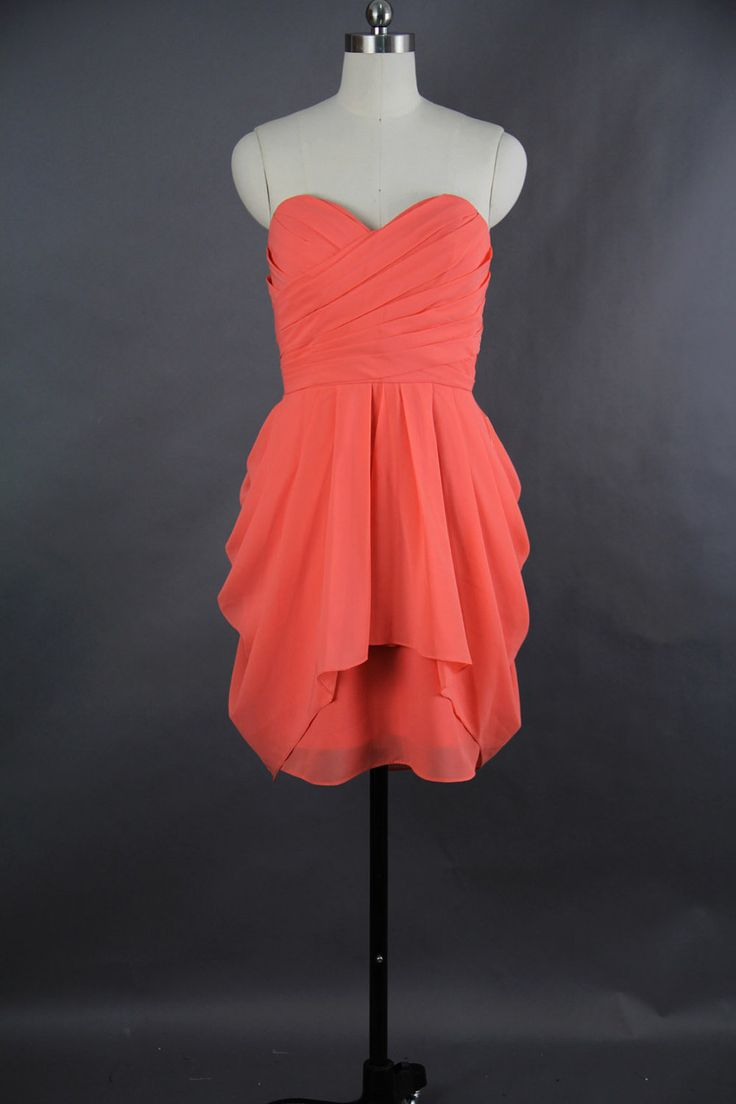 Coral Bridesmaid Dress 2013, A-line Sweetheart Mini Chiffon Bridesmaid Dress 2013. $86.66, via Etsy.