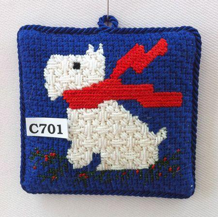 C701 - Riley, Princess & Me West Highland White dog needlepoint Christmas ornament