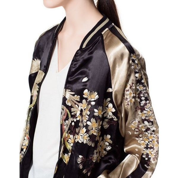 EMBROIDERED BOMBER JACKET from Zara ❤ liked on Polyvore featuring outerwear, jackets, embroidery jackets, blouson jacket, embroidered jacket, flight jacket and bomber jacket