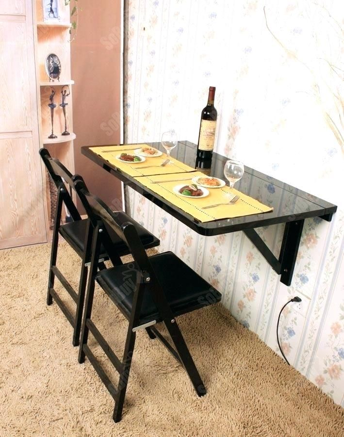 Drop Down Kitchen Table Folding Dining Table Attached To Wall