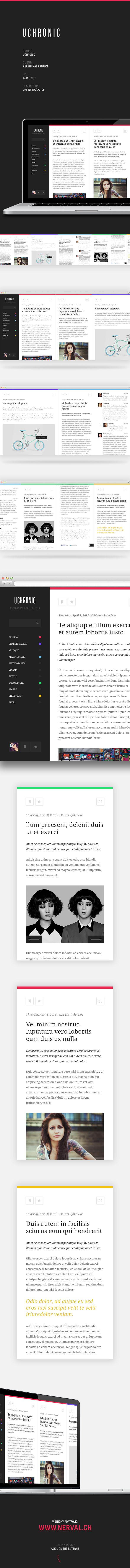 Uchronic by Pierre Georges, via Behance #flatdesign #webdesign #color #photography #typography #ResponsiveDesign #Web #UI #UX #WordPress #Resposive Design #Website #Graphics