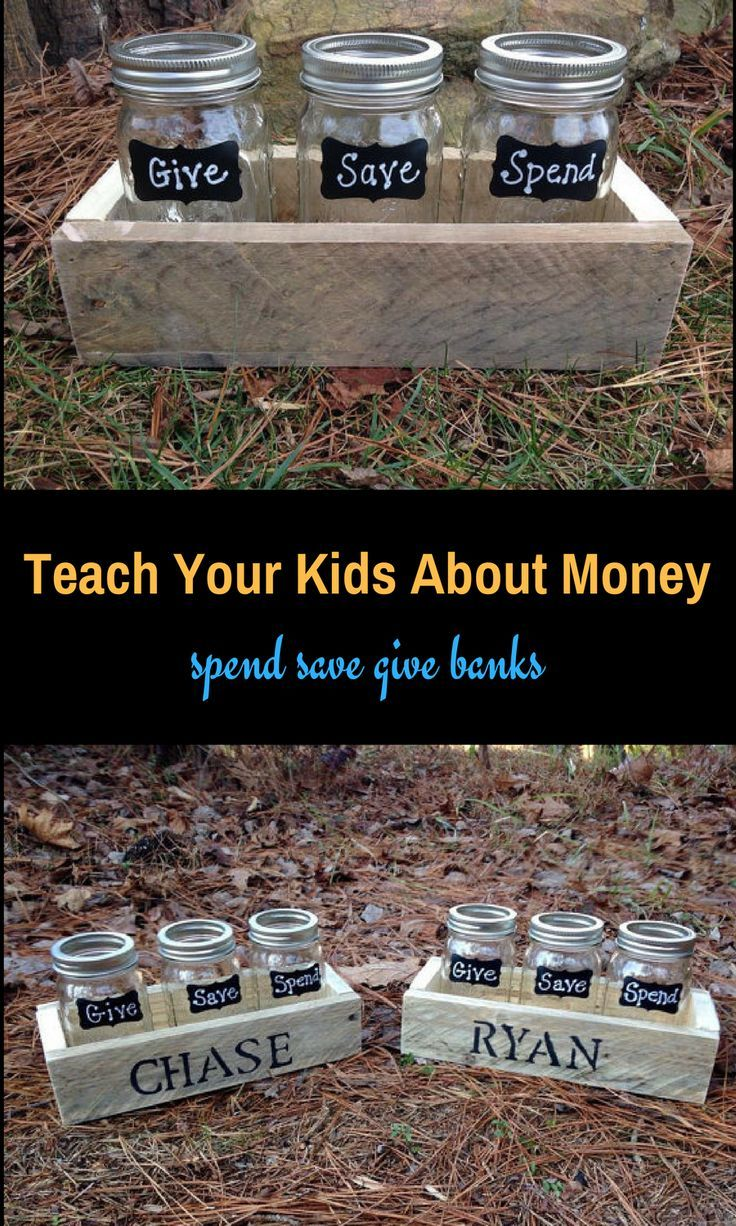 """Love this """"money jars"""" Each jar labeled for different tasks """"spend"""" """"save"""" """"give"""" I think this would be a great way to teach kids at an early age about money management 